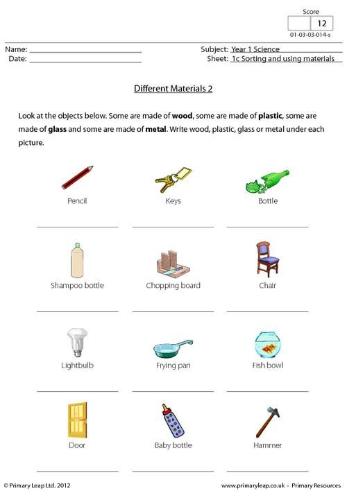 Primaryleap.co.uk - Science worksheet - Different materials ...