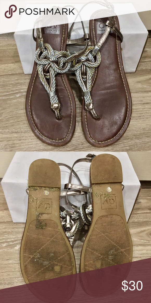 69771292e2dd DV silver rope sandal Awesome sandal with brown leather footbed and twisted  triangle rope knot in the upper. Great condition! Slight staining on the  left ...