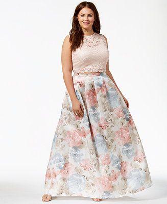 65eaf3e0e4 Morgan   Company Trendy Plus Size 2-Pc. Floral-Print Gown Plus Sizes -  Dresses - Macy s