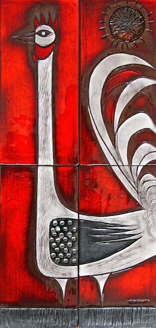 Oswald Tieberghien Glaxed Ceramic Tile Panel 1960s
