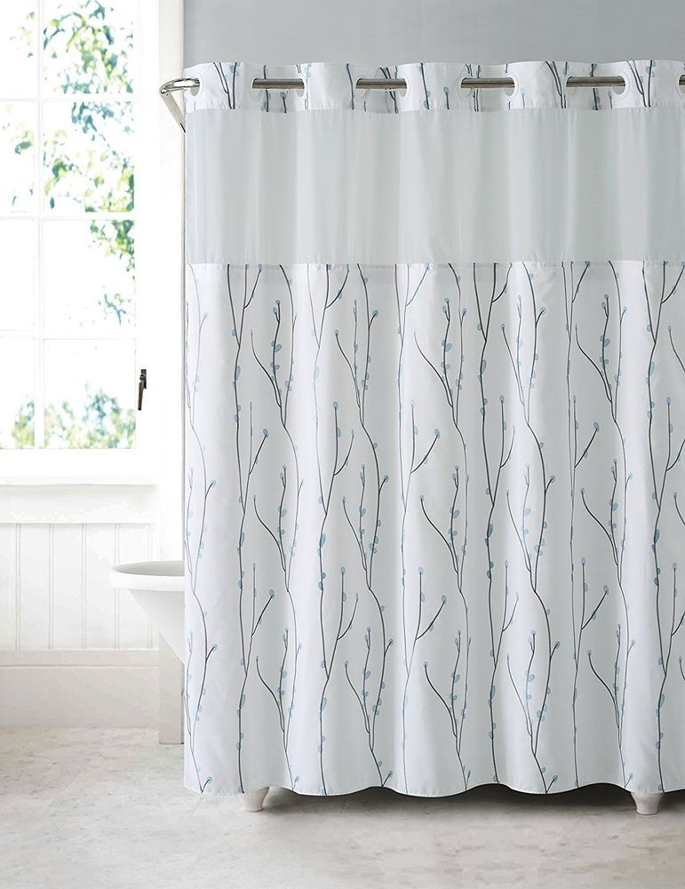 Details About Hookless Shower Curtain Waterproof PEVA Liner White Blue  Cherry Bloom Polyester