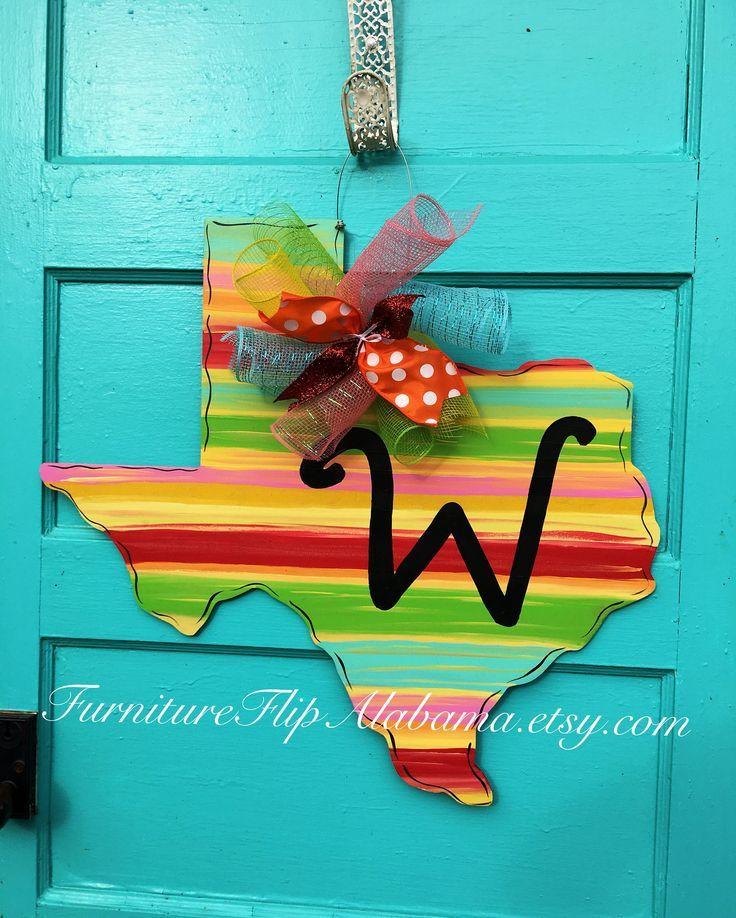 Photo of State of Texas Chevron door hanger,Cowboy door hanger,Rustic texas door hanger, wooden door d…