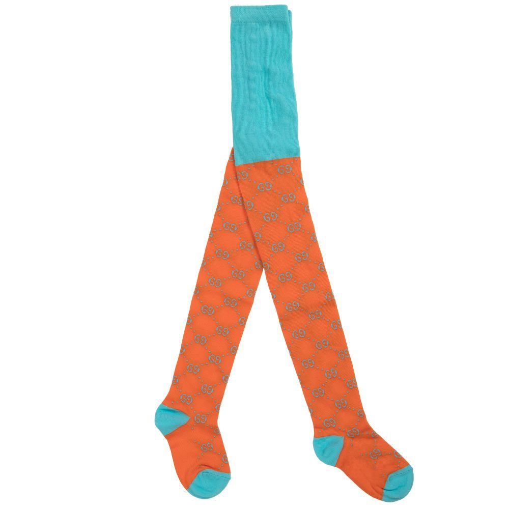 24bd1ce44dd Orange Cotton Logo Tights for Girl by Gucci. Discover more beautiful  designer Tights for kids online