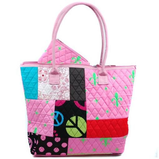 Dasein Tote Bags Dasein Patchwork Design Quilted Bag w/ Fleur De Lis Accent -Pink/Green for Women