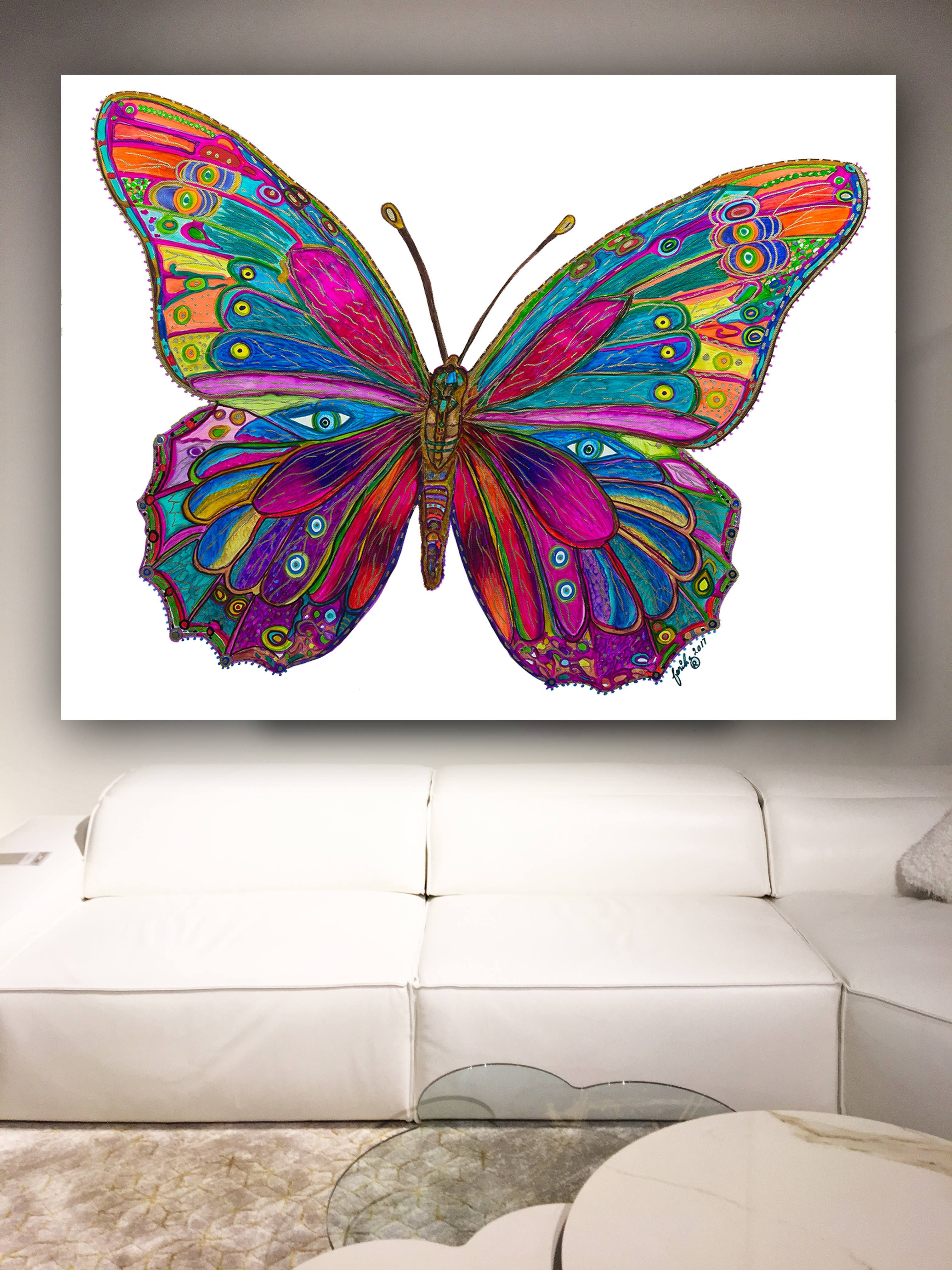 Butterfly Spirit Animal Abstract Art Painting Framed Canvas Print