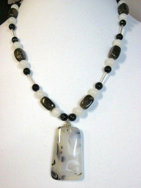 Dendritic Agate Jewelry, Bronzite Necklaces Jewelry, Black & White Agate Necklaces. $45.00, via Etsy.