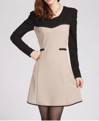 $10.18 Elegant Scoop Neck Color Matching Long Sleeve Women's A-Line Dress