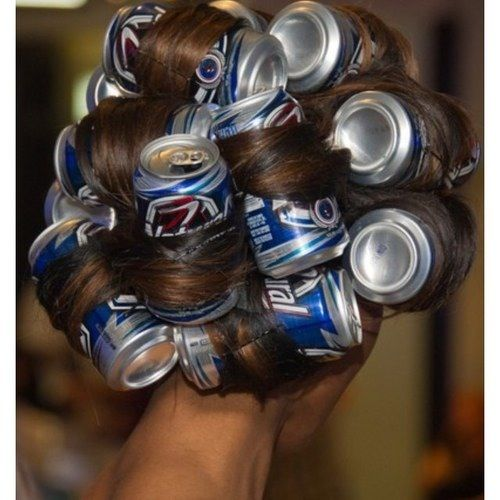 Image result for beer can hair curlers