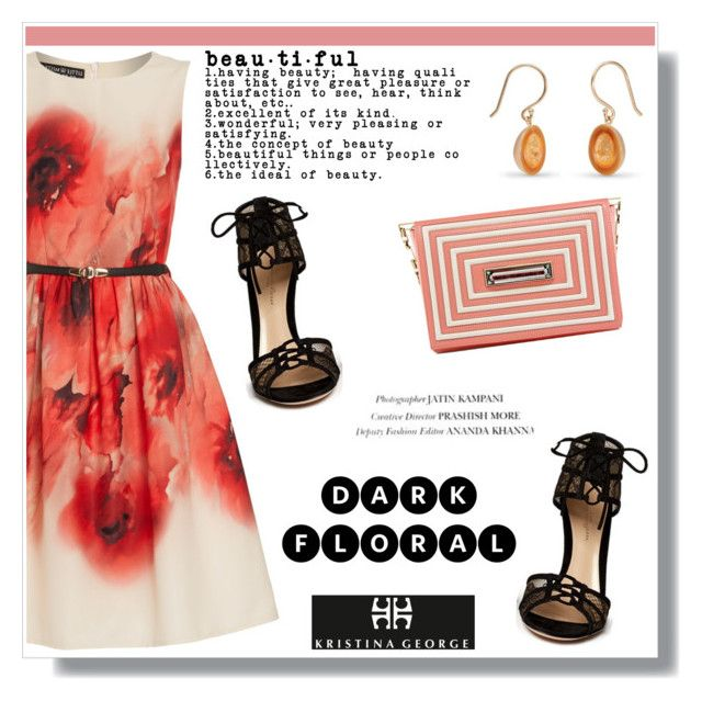 """""""Dark Floral"""" by helenevlacho ❤ liked on Polyvore featuring Little Mistress, Gianvito Rossi and kristinageorgehandbags"""