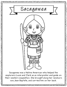 Sacagawea Coloring Page Craft or Poster with Mini Biography, Native ...