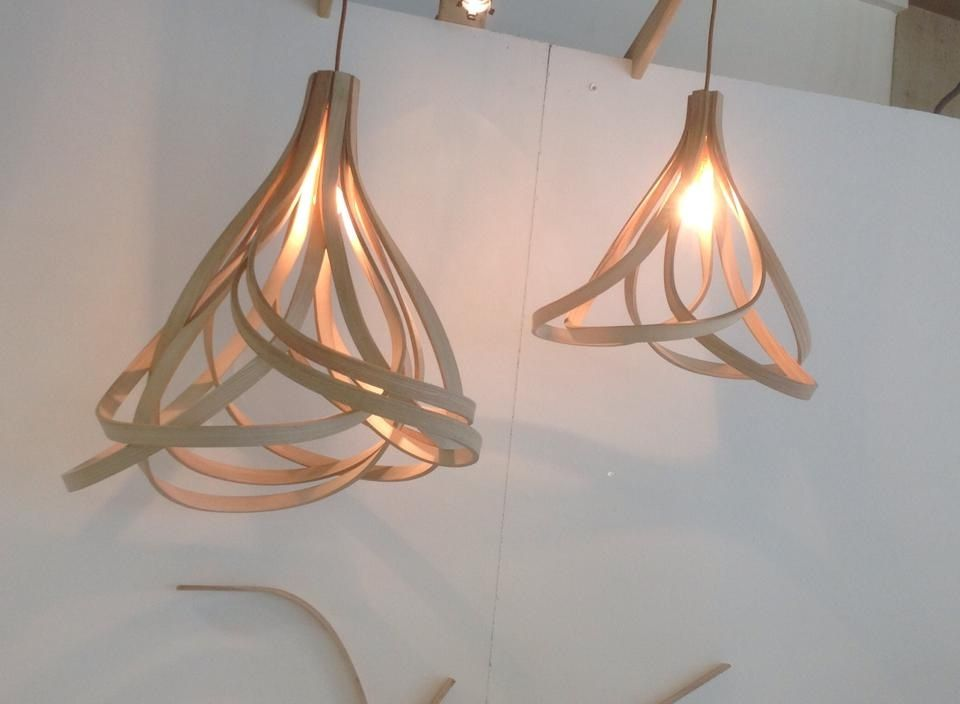 Love These Lamp Shades Made From Steam Bent Wood By Samuel Rose Steam Bending Wood Wood Lamps Wood Chandelier