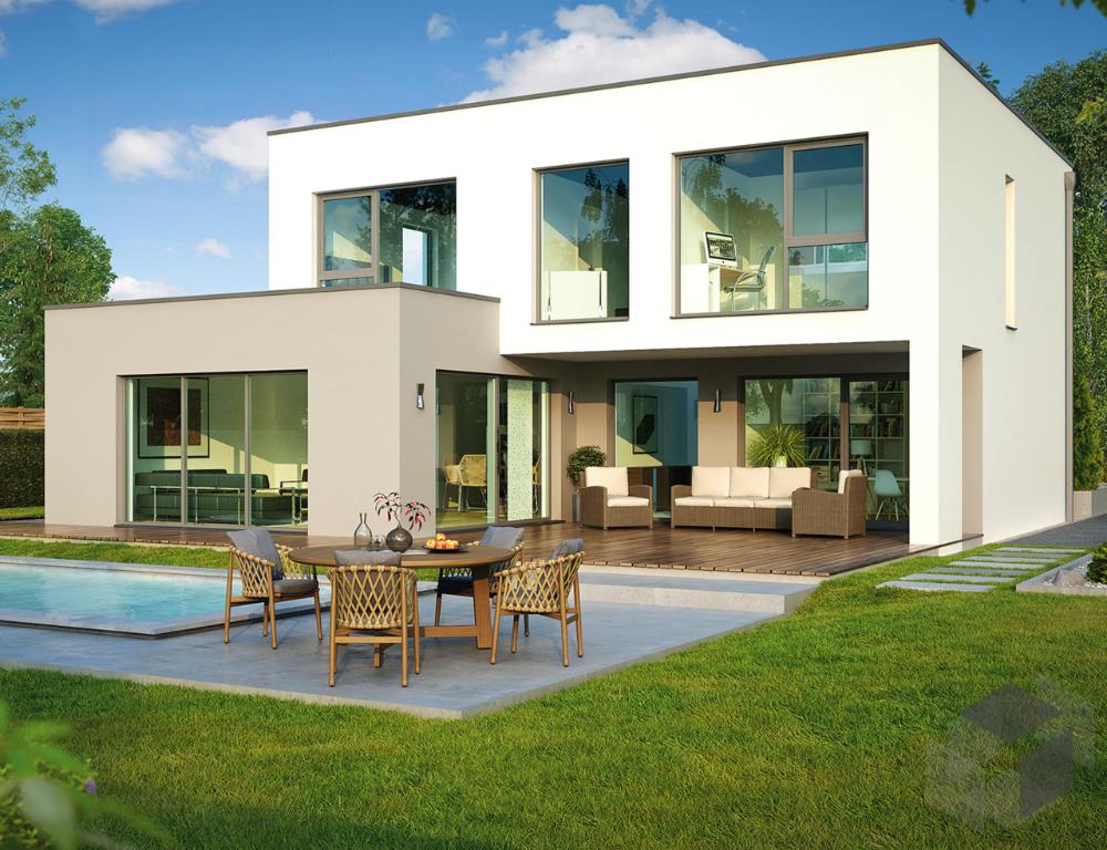 Cubushaus im Bauhausstil mit großen Fenstern