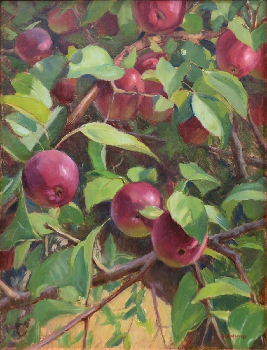 Heartfelt Farm Apples, Cushing, Maine 유화, 꽃