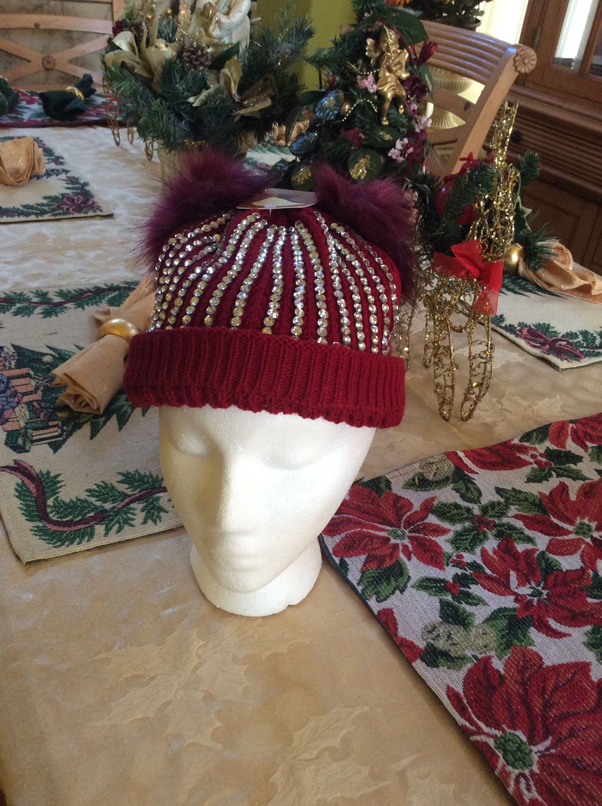 fee19bbe031 Dee s Bling Double Pompom Beanie Toque Red