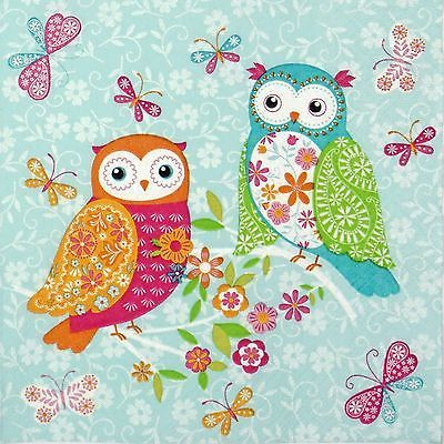 4 Single Table Party Paper Napkins for Decoupage Decopatch Craft Patchwork Owls