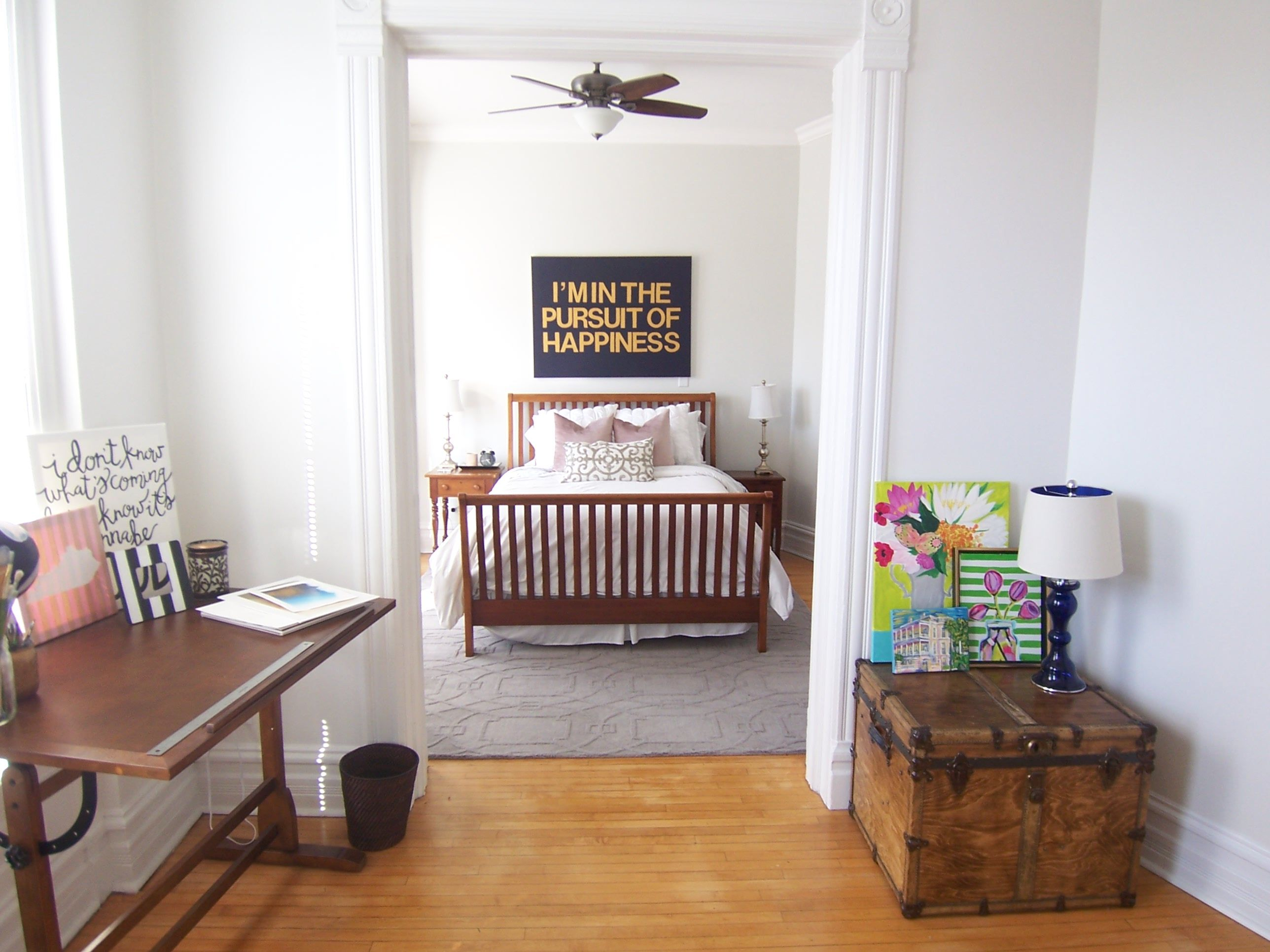 Vintage bedroom and office space in Lincoln Park Chicago with white ...