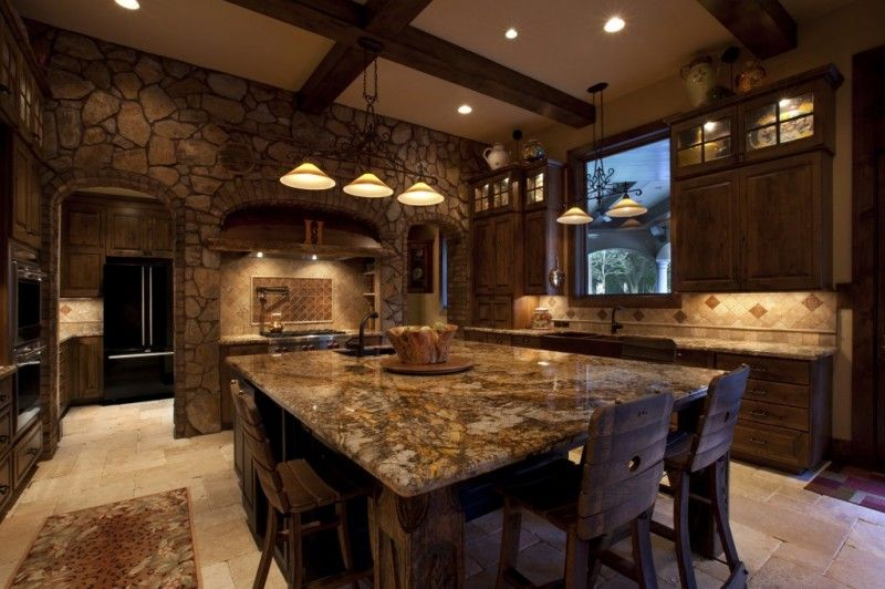Rustic Kitchen With Marble Countertops