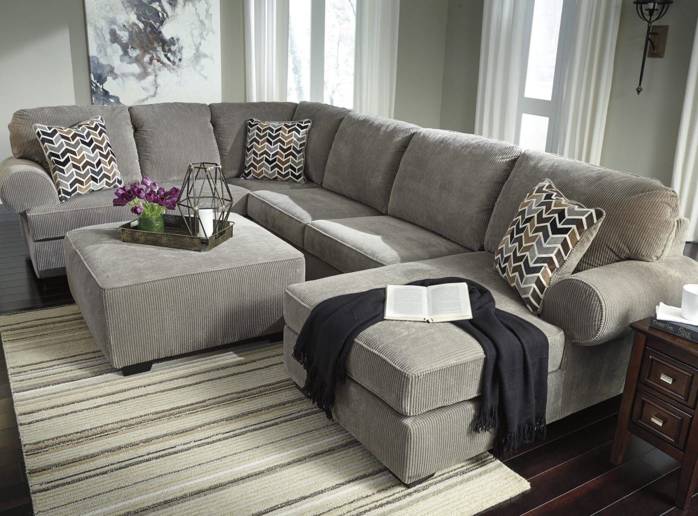 Signature Design by Ashley Jinllingsly Gray 4 Piece Living ... on Outdoor Living Room Set id=56411