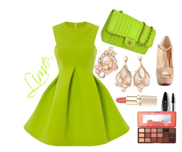 """Lime Dress"" by anabritt on Polyvore featuring moda, Chanel, Christian Louboutin, Shaun Leane, LE VIAN, Too Faced Cosmetics e Lancôme"
