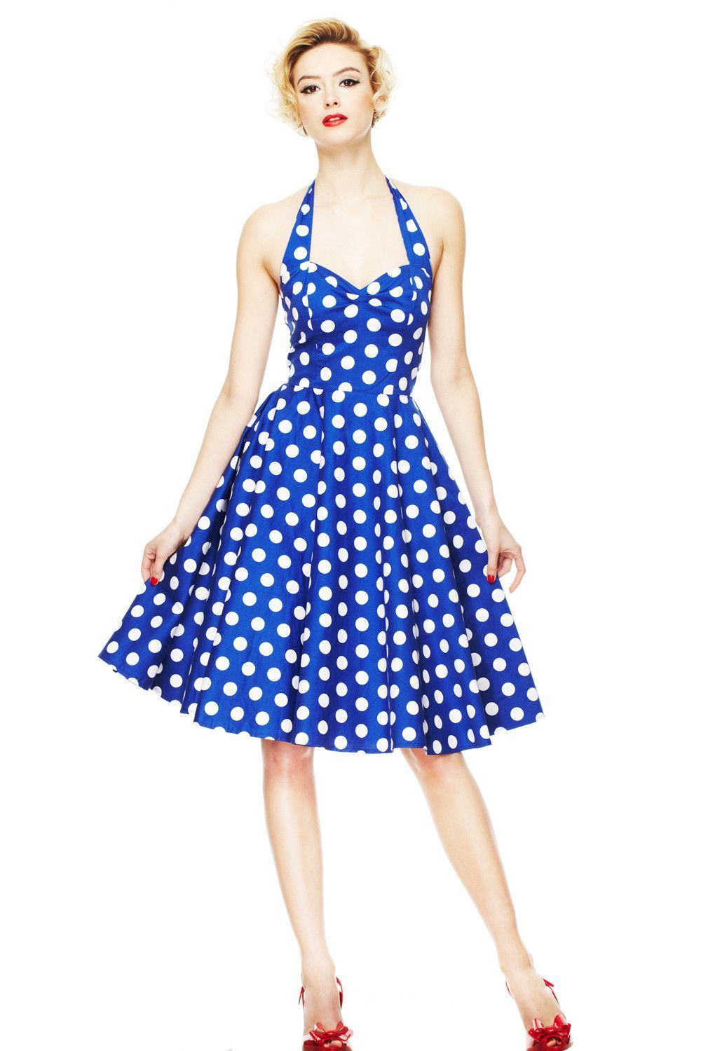 c4697eef45b223 Hell Bunny 60's Blue and White Polka Dot Halter Flare Party Dress in ...