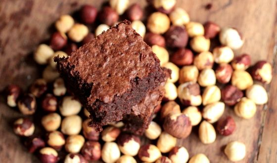 Boozy Fudgy Hazelnut Dark Chocolate Brownies   Vintage Kitchen Notes