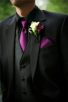 suit with black shirt purple tie - Google Search | Prom ...