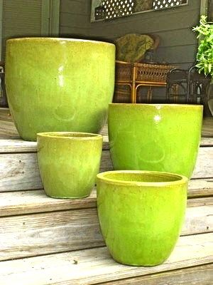 Chartreuse Green Flower Pots Green Flower Pots Green Pottery Ceramic Flower Pots