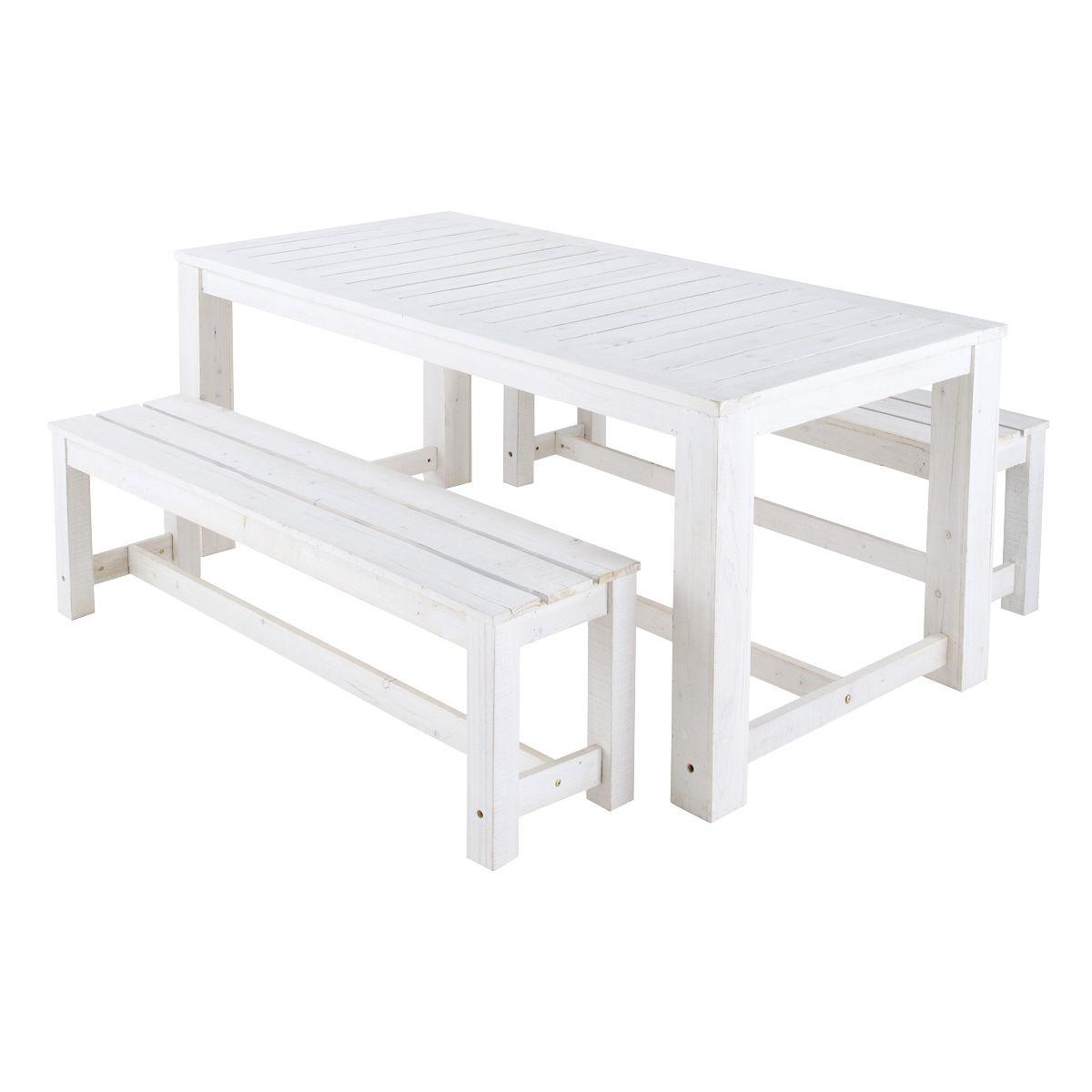 Tavolo In Rattan Bianco.Tavolo Bianco 2 Panche Da Giardino In Legno L 180 Cm Wooden