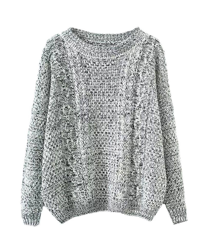 Round-neck Cable-knit Loose Pullover Knitwear
