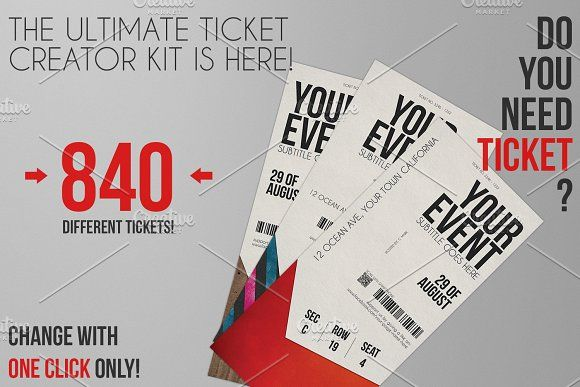 Ticket Creator Kit 840 Styles @creativework247 Templates - concert ticket template free