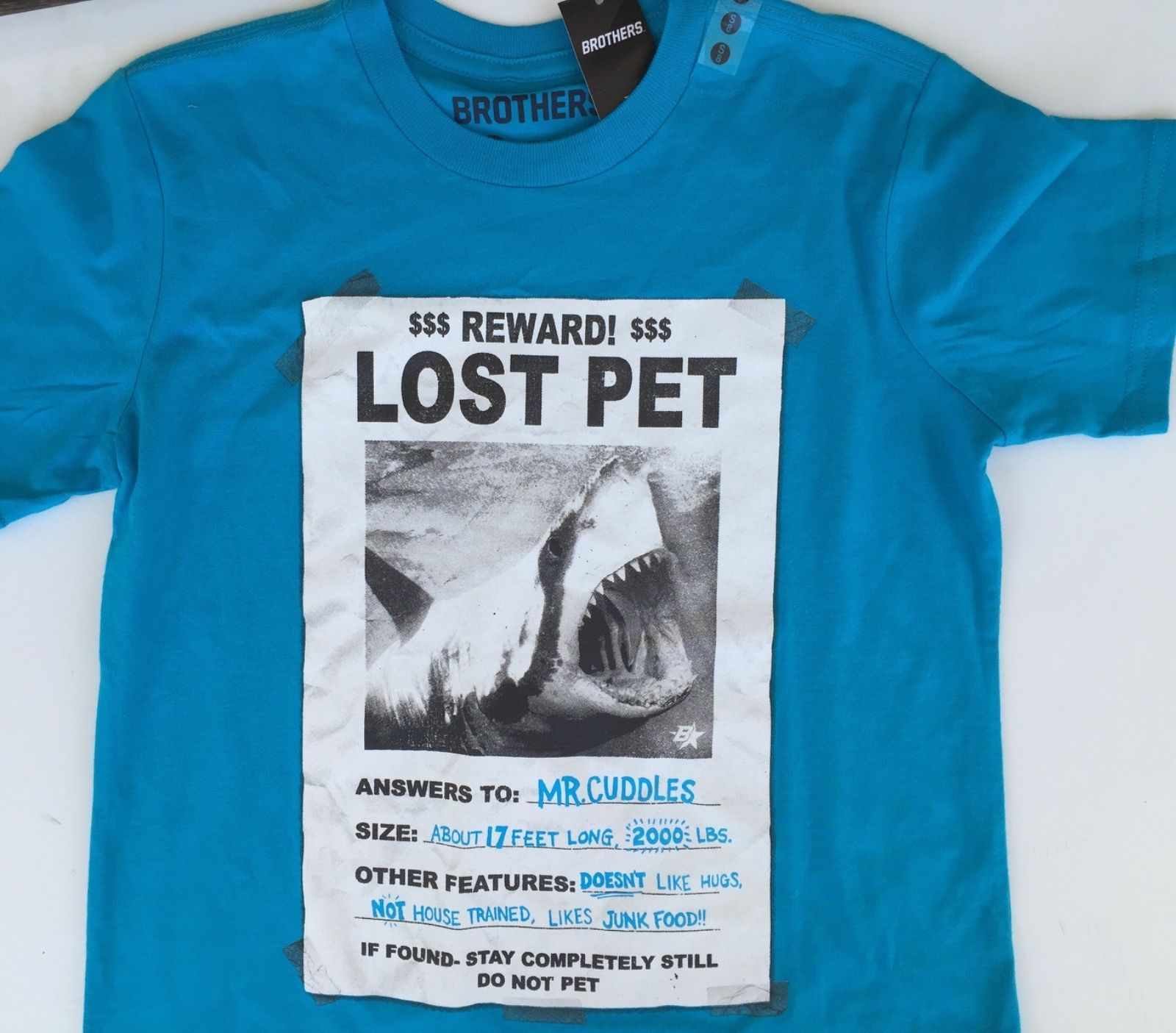 f0eb426e72d NWT Justice boys tee shirt blue pet shark lost cuddles 5 16 Brothers ...