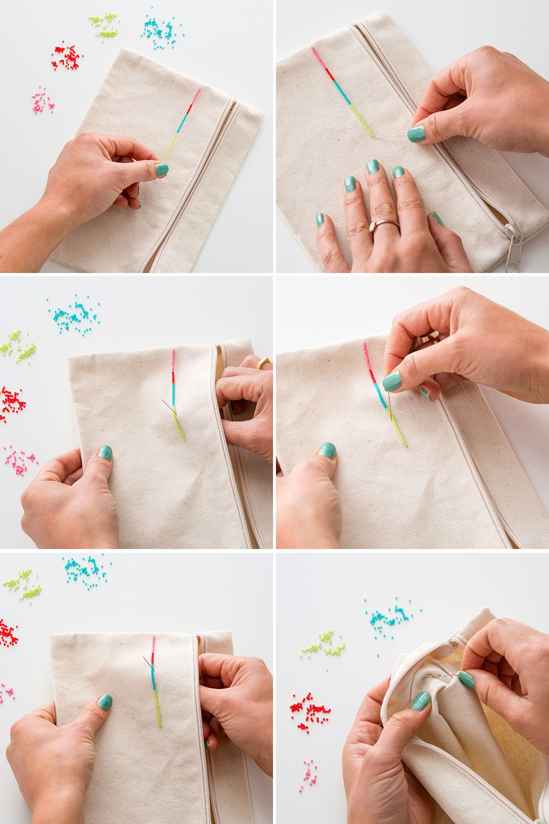 Organize All Your Stuff With DIY Embroidered + Beaded Pouches via Brit + Co.