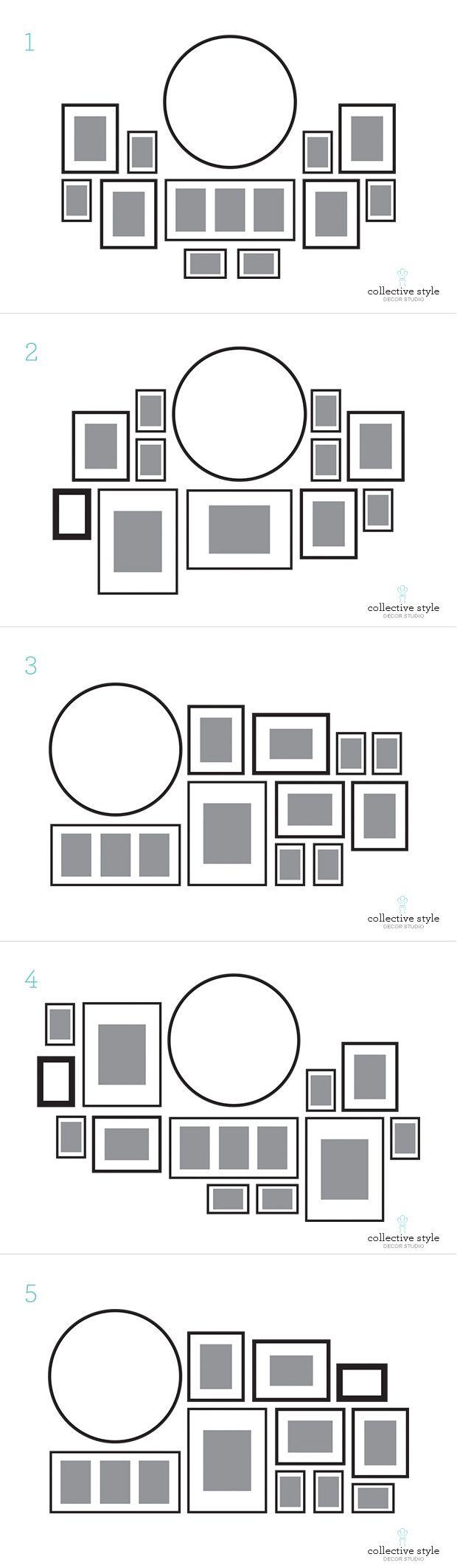 Gallery wall layouts Acomodos para muros con cuadros | DIY Home ...