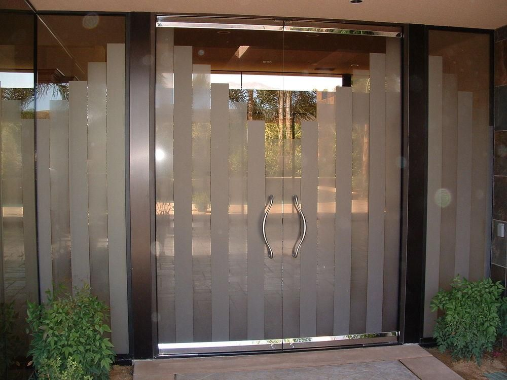 Etched Glass Frameless Door Towers By Sans Soucie Art Glass Studios,  Inc.