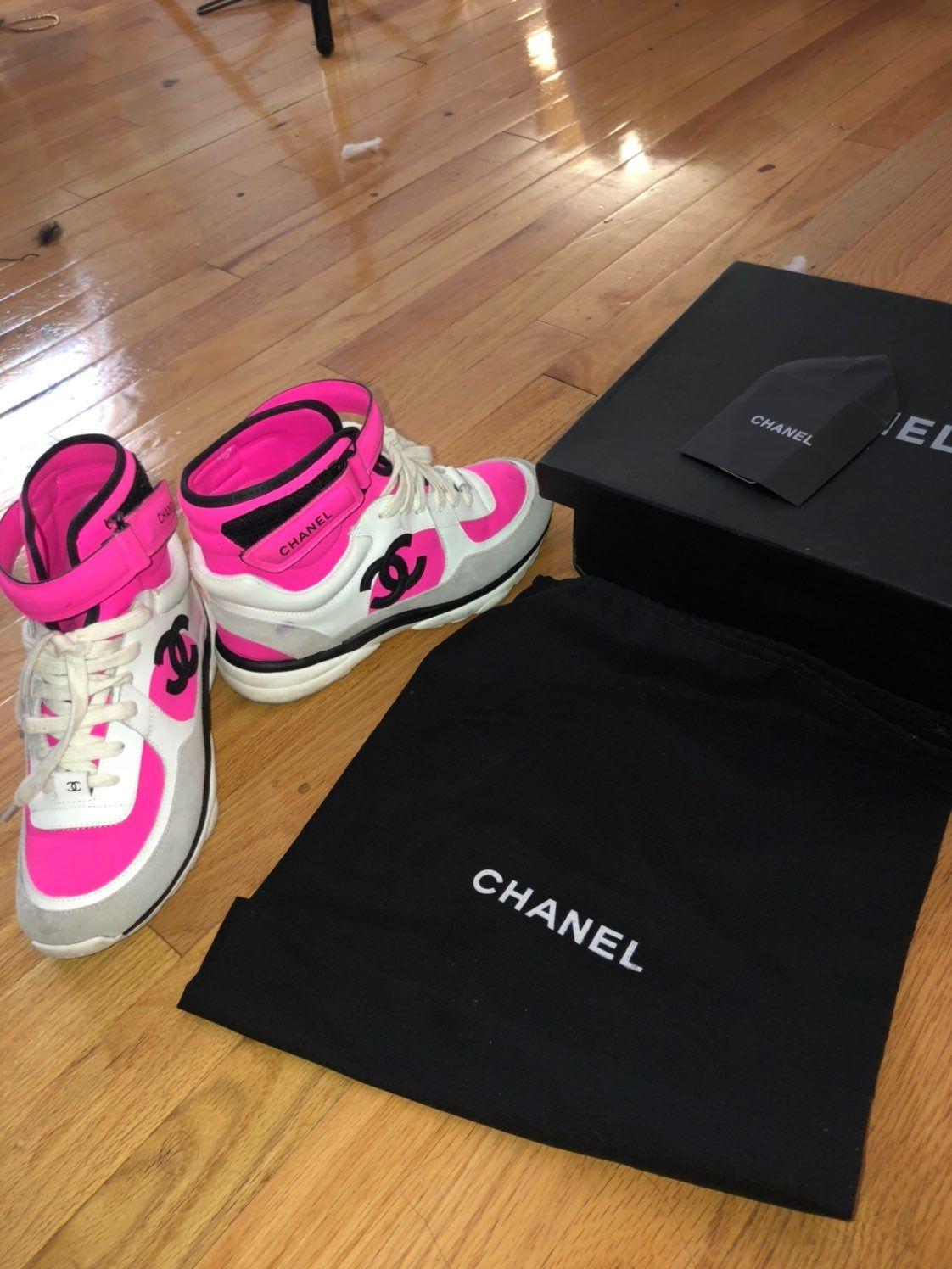Chanel neon pink hightop sneakers