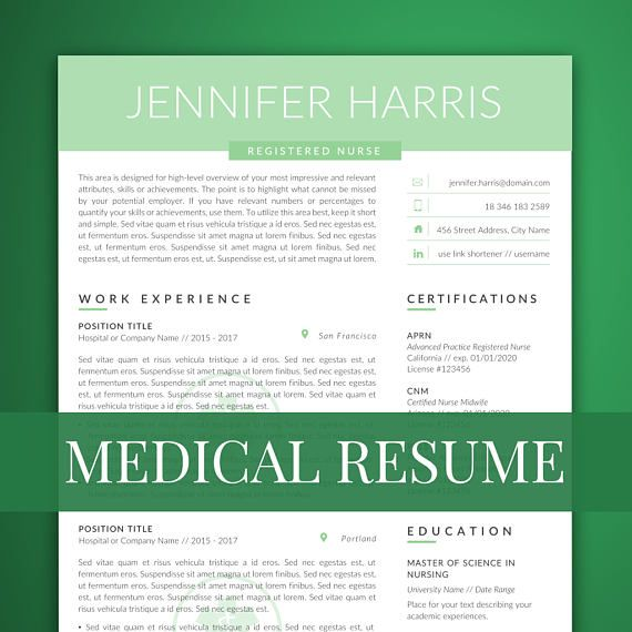 Nurse Resume Template for Word Medical Resume Template resume - medical resume template