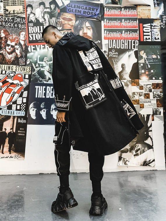 Black Trenchcoat Oversized Streetwear Jacket Urban Anorak Coat Streetwear Jackets Streetwear Fashion Street Wear