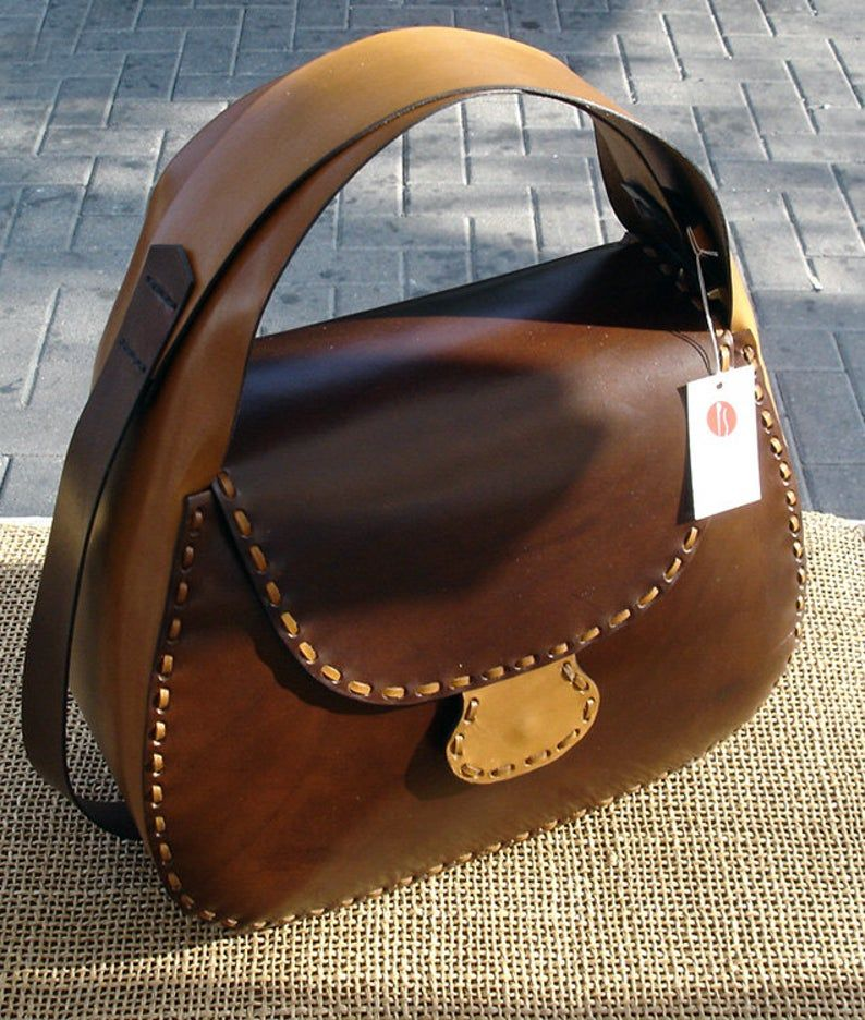 Photo of LEATHER HANDMADE BAG / Bag / Leather Bag / Handbag / Leather Handbag / Shoulder Bag / Bandolier Bag / Pouch / Brown and Nature Leather Bag.