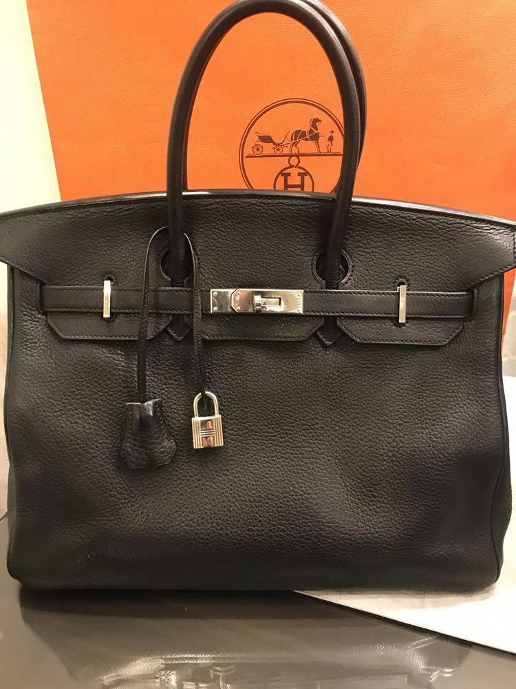 c1a17d8b600 HERMES BIRKIN 35 BLACK PHW CLEMENCE LEATHER BAG EUC  Hermeshandbags ...
