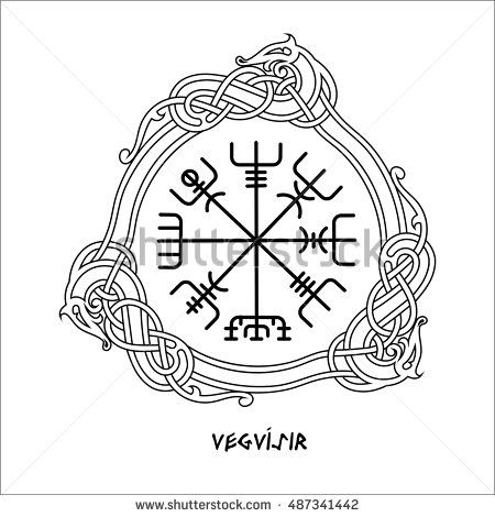 Vegvisir The Magic Navigation Compass Of Ancient Icelandic Vikings With Scandinavian Ornament Isolated On Wh Viking Compass Tattoo Ancient Tattoo Compass Art