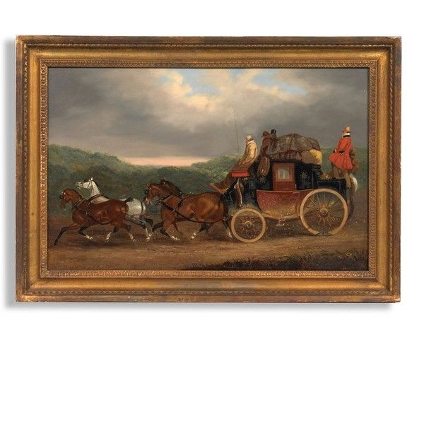 The Edinburgh to London Royal Mail Coach Painting ($19,500) ❤ liked on Polyvore featuring home, home decor, wall art, outdoor paintings, canvas home decor, outdoor wall art, horse paintings and horse canvas wall art