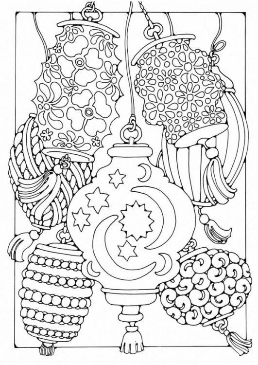 Coloring page Lanterns | Malebog til Siri | Pinterest | Mandala para ...