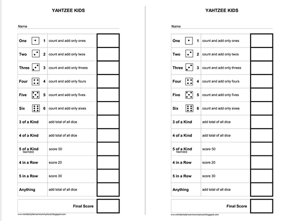 Heres A Simplified Yahtzee Score Card For Kids Carddicedomino