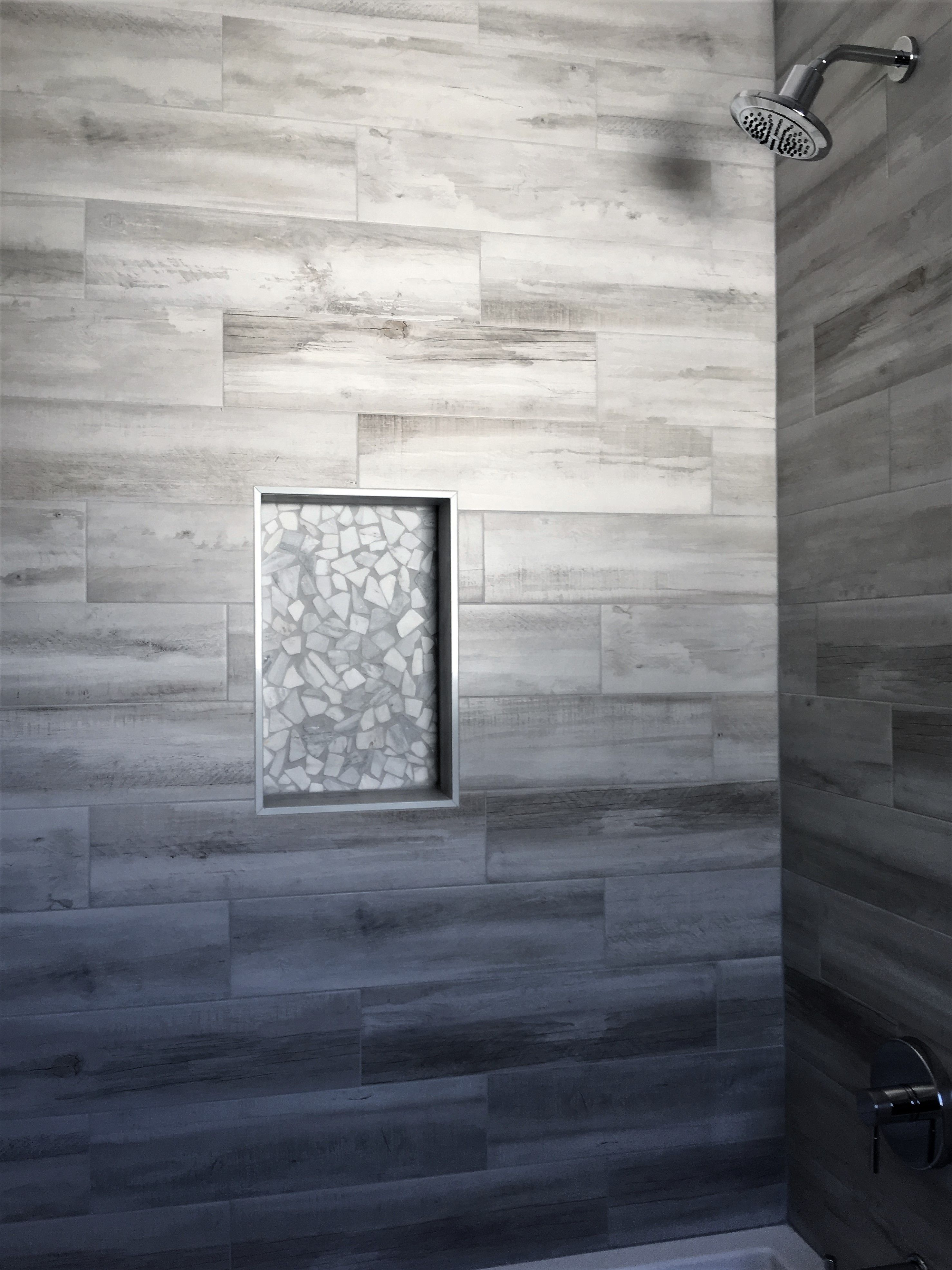 wood look porcelain shower wall tile