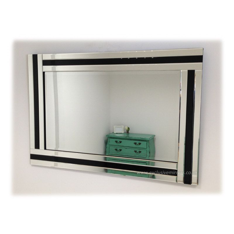 Large Glass Framed triple mirror with black glass 90 x 60cm [EE673 ...