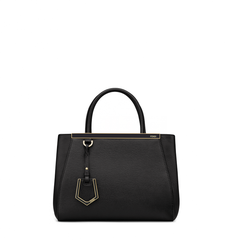 Black elite calfskin and flamingo shopping Petite 2Jours. Enamel bars with  Fendi logo and palladium 0e3ac15bd06a2
