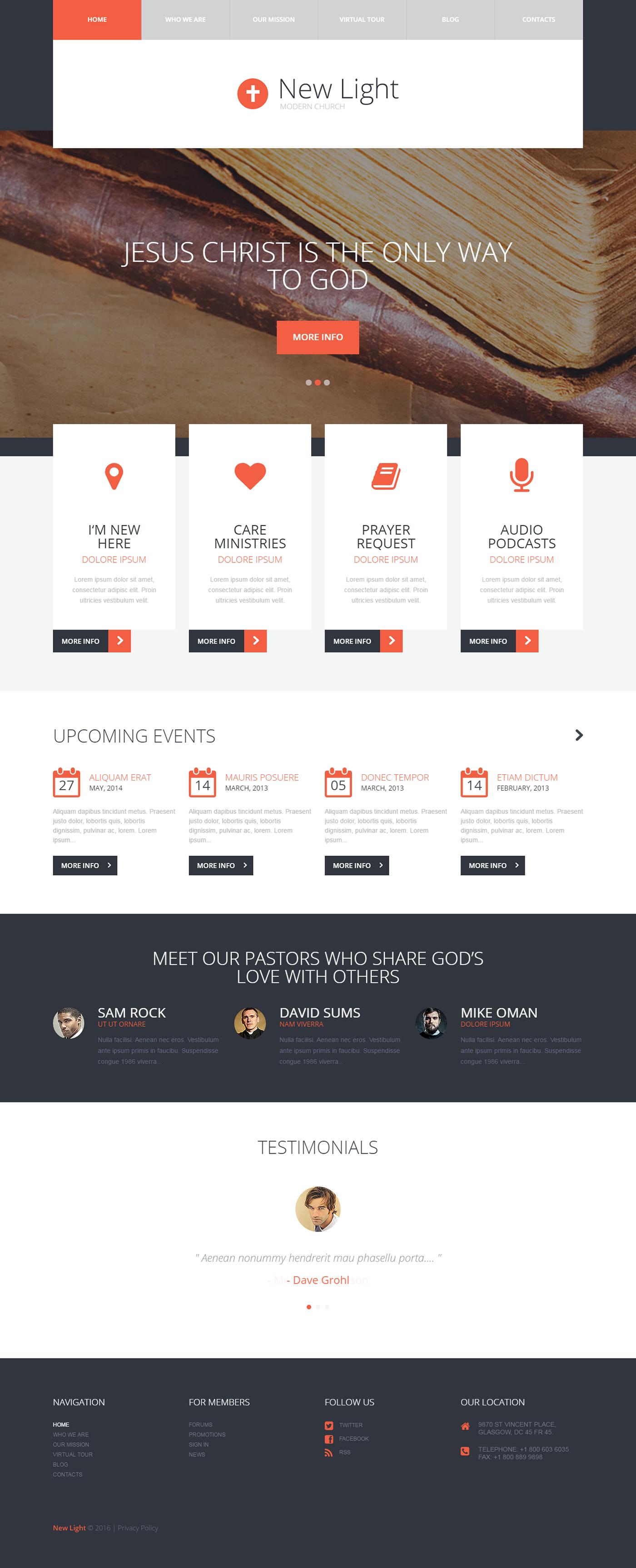Modern Church Wordpress Theme On Behance Wordpress Themes