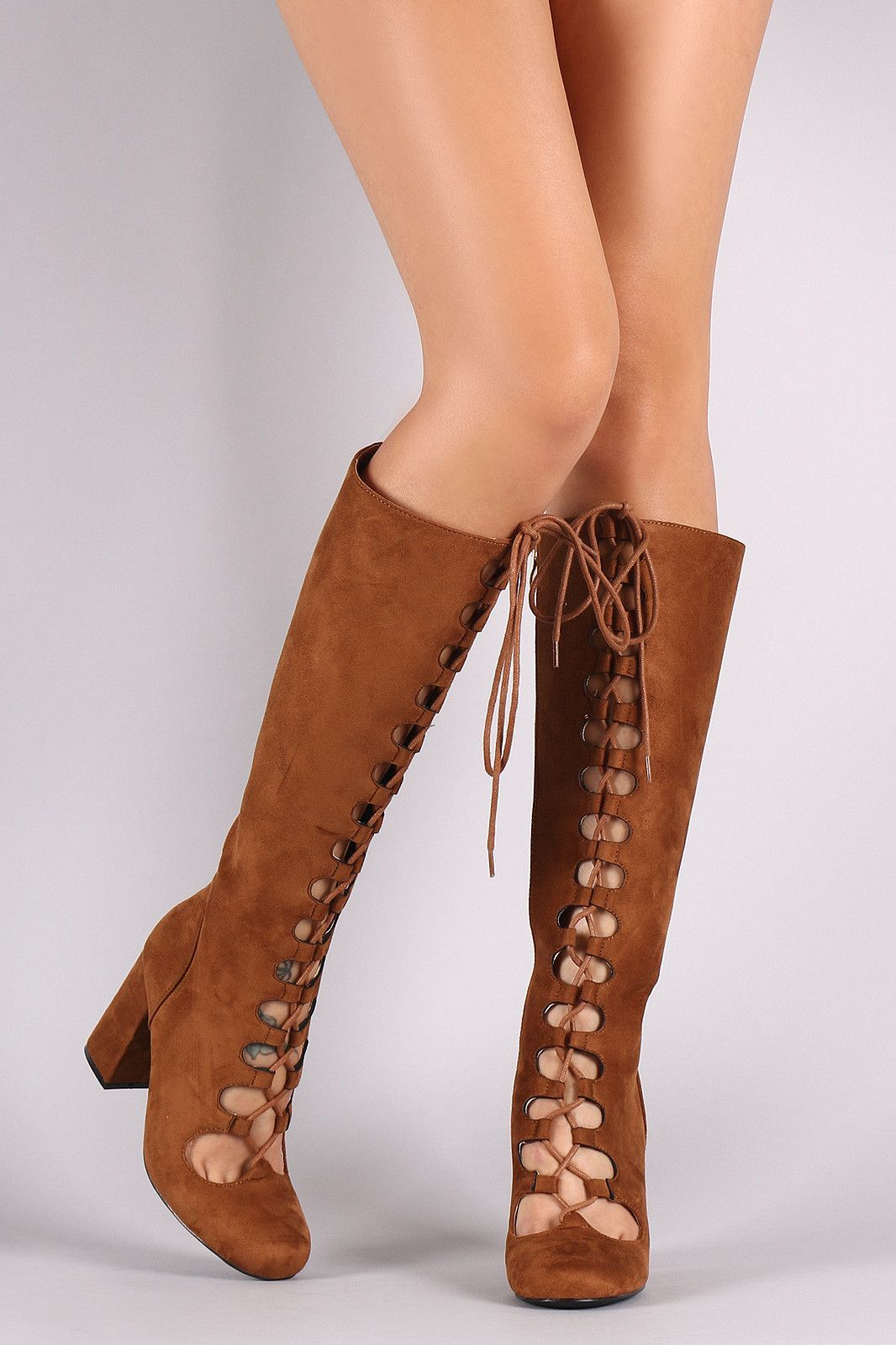 Tan Suede Lace Up Peep Toe Booties Chunky Heel Ankle Boots