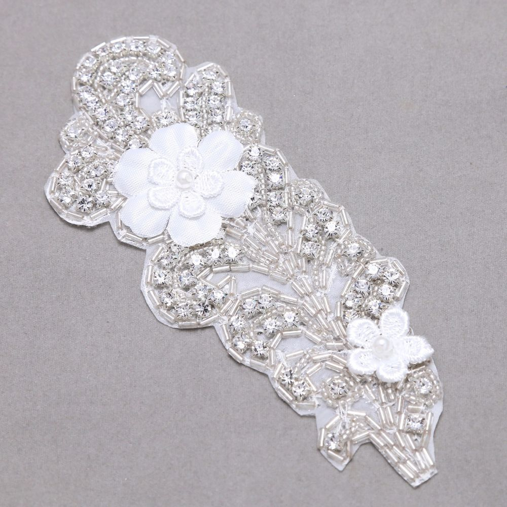 Details About Feather Motif Wedding Lace Lique Crystal Sew On Diy Headpiece Embellishments