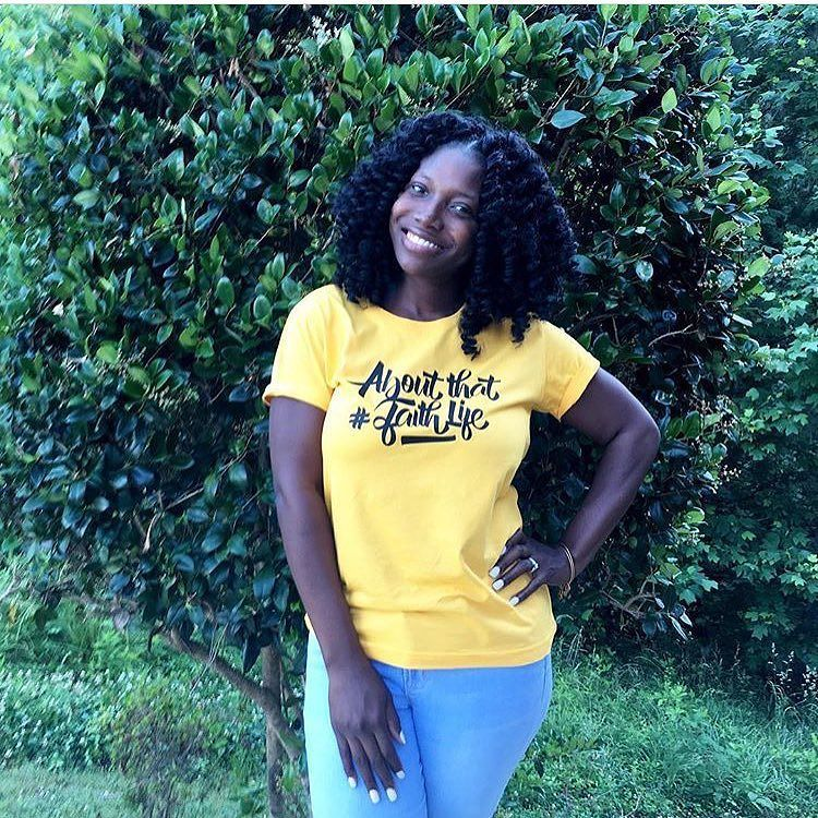 """Everything won't be perfect and obstacles will ensue but knowing that I'm equipped with everything I need to succeed""   Tiffini @theatlgo2girl has the right attitude on a Monday & she looks FAB in her yellow #abouthatfaithlife tee . #vrcrew"